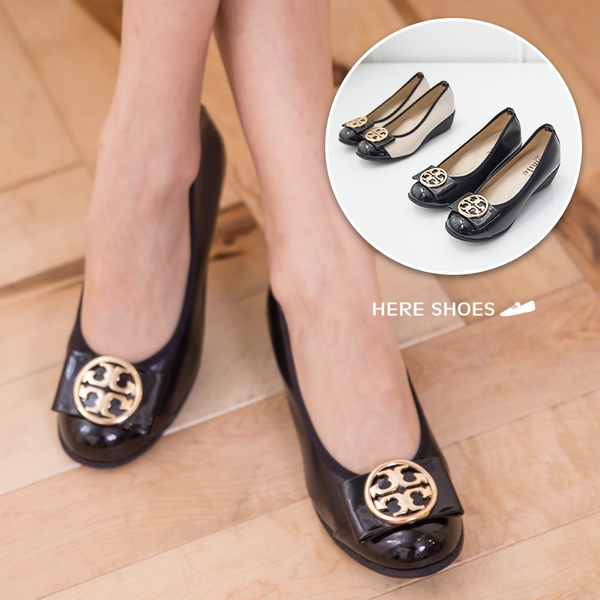 [Here Shoes]2色 素雅中國風圖騰金屬蝴蝶結楔型中跟 坡跟娃娃鞋 乳膠底舒適好穿 ◆MIT台灣製─KI855