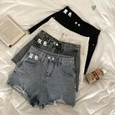 牛仔短褲女 2021新款夏季薄款破洞寬管超熱褲寬鬆辣妹高腰a字褲子【八折搶購】