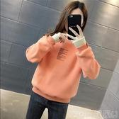 假兩件上衣 假兩件加絨衛衣女2021秋冬季新款套頭加厚打底上衣韓版寬鬆ins潮 童趣屋  新品