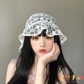 蕾絲花朵漁夫帽鏤空透氣遮陽盆帽子【倪醬小舖】