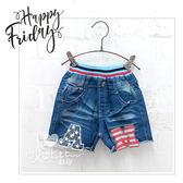 字母貼布造型牛仔短褲 鬆緊腰 韓版 羅紋腰 牛仔褲 男童 女童 小童 中大童 哎北比童裝