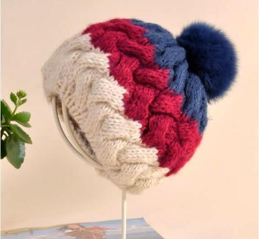 毛帽/針織帽韓國兔毛大球球毛線帽