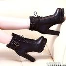 馬丁靴女英倫風高跟鞋百搭粗跟防水臺女短靴加絨『交換禮物』