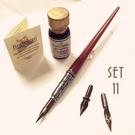 義大利 Bortoletti set11 木質筆桿沾水筆+墨水+筆尖組(握位雕花)21501170766792 / 組
