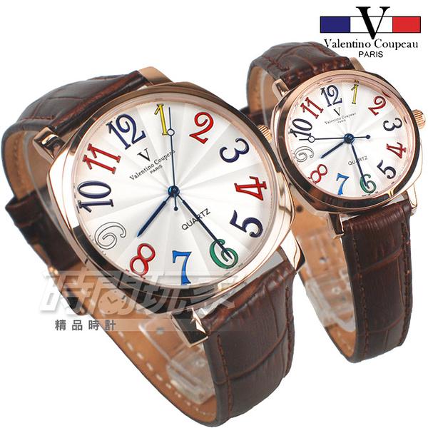 valentino coupeau范倫鐵諾 方圓數字時尚錶 玫瑰金電鍍 玫瑰金x咖啡 對錶 V61601玫咖大+V61601玫咖小