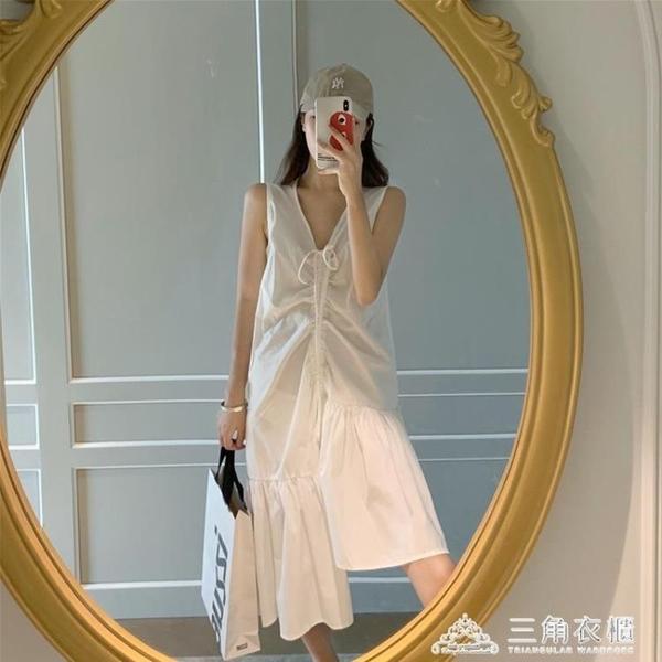 新款夏裝韓版女港風裙子寬鬆顯瘦抽繩不規則背心裙V領連身裙 三角衣櫃