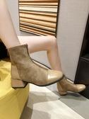 馬丁靴方頭粗跟短靴女秋季單靴新款chic馬丁靴女中跟網紅瘦瘦靴促銷好物
