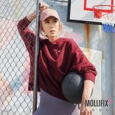 【小禎聯名設計】Mollifix 瑪莉菲絲 TRULY不規則前口袋帽T長袖上衣 (酒紅)