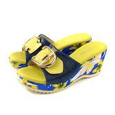 HUMAN PEACE 拖鞋式涼鞋 楔型鞋 藍/黃 熱帶花卉 女鞋 00872-81 no054