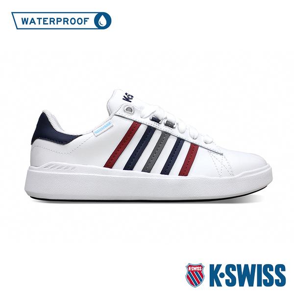 【超取】K-SWISS Pershing Court Light WP防水時尚運動鞋-男-白/藍/紅