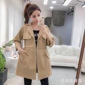 時尚風衣外套 女2019新款修身顯瘦百搭中長款薄款外套 BF21528『愛尚生活館』
