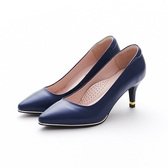 MICHELLE PARK 百搭素面尖頭金屬羊皮鑲嵌細高跟鞋-藍