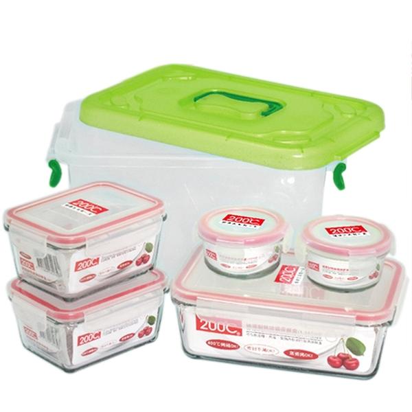 Artist 耐熱玻璃保鮮盒六件組(100ml圓型保鮮盒*2+465ml長型保鮮盒*2+1165ml長型保鮮盒*1+6L收納箱*1)(MF0339)