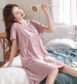 睡裙女夏季純棉薄款短袖韓版寬鬆睡衣女【大碼百分百】
