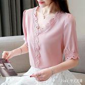 Pink中大尺碼蕾絲上衣 雪紡衫女短袖2019夏季裝新款韓版寬鬆蕾絲打底衫洋氣小衫V領上衣 nm21373