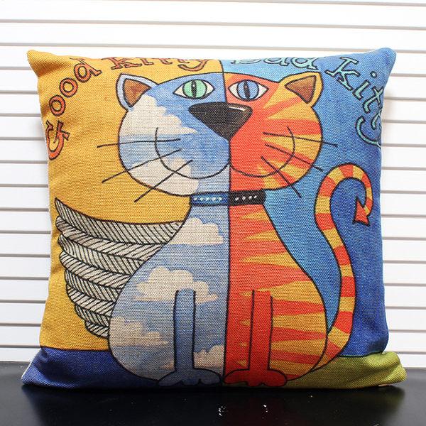 現代簡約天使惡魔貓 彩繪創意家居 棉麻靠枕套