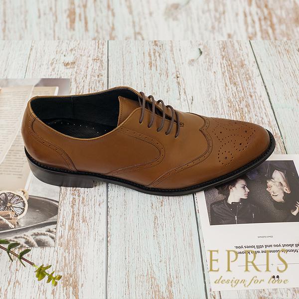 現貨 臺灣手工真皮男皮鞋品牌 英倫歐巴 雕花紳士鞋 商務皮鞋 上班正式皮鞋 EPRIS艾佩絲-紳士咖