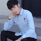 秋季男士長袖襯衫青年休閒白襯衣繡花修身寸衫男上衣服潮男裝 糖果時尚