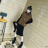 大碼女裝胖mm毛衣套裝針織連身裙顯瘦兩件套【時尚大衣櫥】