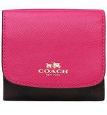 COACH F53837 女款PVC配皮短夾三折疊錢夾真皮小錢包
