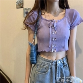 短款露脐T恤女2021年春季新款设计感小众短袖辣妹紫色打底上衣夏 中秋節限時好禮