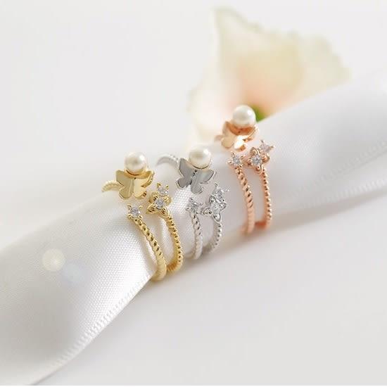 正韓 夢幻舞蝶珍珠鋯石 開口可微調 戒指