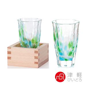日本津輕 手作清酒杯(含木盒)-共2款清萌綠