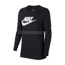 Nike 長袖T恤 NSW Long Sleeve Shirts 黑 白 女款 大學T 運動休閒【ACS】 BV6172-010