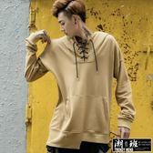 『潮段班』【GN003321】秋冬流行素面帽T交叉綁帶造型百搭簡約寬鬆素色長袖T恤