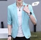 夏季男士小西裝男短袖韓版修身七分袖外套潮流休閒薄款中袖西服男「時尚彩紅屋」