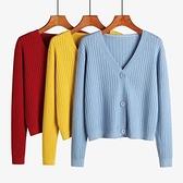 針織外套 針織開衫秋季女士毛衣女韓版顯瘦短款薄款外套女裝潮 v領  芊墨左岸 上新