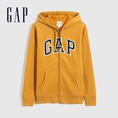Gap男女同款 碳素軟磨系列 Logo基本款休閒連帽外套 618866-黃色