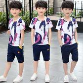男童夏裝短袖套裝2019新款洋氣夏季運動中大童男孩夏款帥氣韓版潮-Ifashion