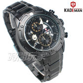 KADEMAN卡德蔓 公司貨 三眼計時碼錶 個性男錶 防水手錶 賽車錶 IP黑電鍍 KA8013黑