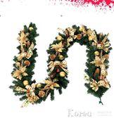 聖誕藤條 加密2.7米金色圣誕藤條酒店商場裝飾品豪華圣誕掛飾圣誕節藤條【韓國時尚週】