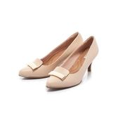 【Fair Lady】Soft芯太軟 方形拼接金屬扣飾高跟鞋 卡其