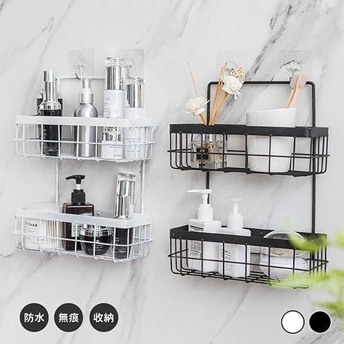 北歐鐵藝廚房免打孔雙層壁掛置物架