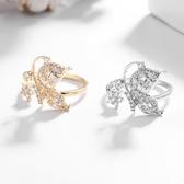 【ANGEL】蝴蝶點水簡約鋯石開口彈性戒指(2色可選)