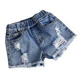 女童牛仔短褲 破洞薄款熱褲