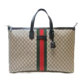 GUCCI 古馳 棕色PVC雙G LOGO紅綠織帶手提肩背兩用包 Web Duffle Bag【BRAND OFF】