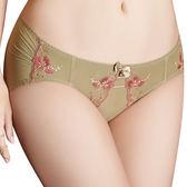 思薇爾-戀戀金紗系列M-XL刺繡蕾絲低腰三角內褲(鉻金綠)