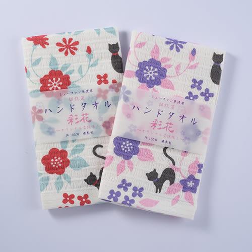 (小)日本製杉乃實銀抗菌彩花棉紗毛巾/面巾-貓の庭/紫-妙屋房