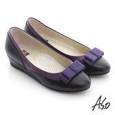 A.S.O 粉領之戀 全真皮織帶復古甜美楔型鞋 紫