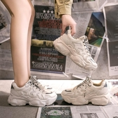 厚底鞋鞋子女秋新款網面運動單鞋百搭學生潮透氣厚底小白老爹鞋新年禮物
