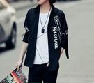 找到自己品牌 男 時尚 街頭 潮 字母英文印花 特色別針設計 寬鬆 五分袖襯衫 中袖襯衫