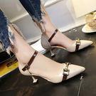 春夏新款尖頭鞋氣質金屬扣H細跟6厘米高跟鞋GZX-11