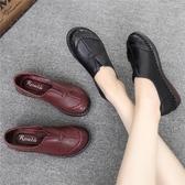 2019春季媽媽鞋軟底女舒適真皮中老年皮鞋平底中年女鞋子老人單鞋