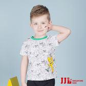 JJLKIDS 男童 手繪大野狼純棉短袖T恤上衣(白色)