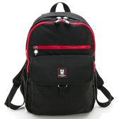 金安德森 極簡玩色 大容量雙拉鍊經典後背包-低調黑紅