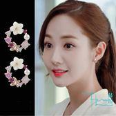 【Hera赫拉】 金秘書同款 S925銀針貝殼圓型花環鋯石花朵耳針/耳釘
